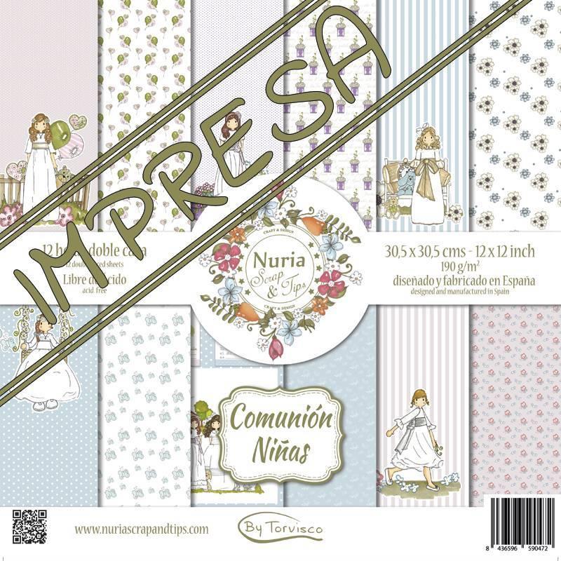 """Colección """"Comunión Niñas"""" papeles scrapbook"""